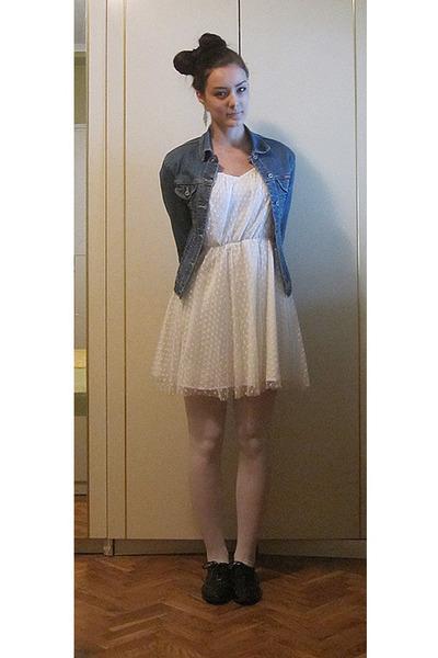 Blue Jeans Jacket Jackets Black Oxfords Shoes White Hm Dresses