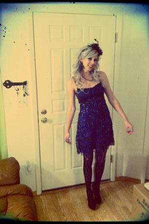 lace tights - lace dress dress - feather hat - lace up pumps