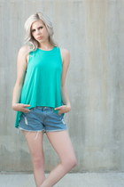 turquoise blue hi-low Forever 21 top - light blue distressed thrifted shorts