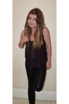 black Topshop leggings - crimson Topshop top - dark gray warehouse necklace