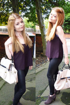 black Topshop leggings - ivory Primark bag - purple Topshop vest