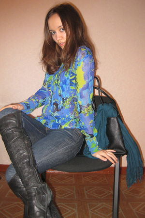 blue versace blouse - blue Loft jeans - black Knee-high boots boots - black Luci