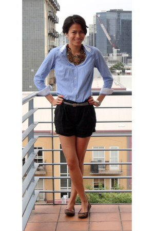 blue Zara shirt - black Witchery shorts - heather gray portmans belt - dark brow
