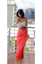 red turn skirt Glassons dress - gold obi supre belt - cream crinkly wish top - g