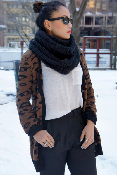 Aldo shoes - FCUK scarf - Zara pants - silence and noise top - Zara cardigan