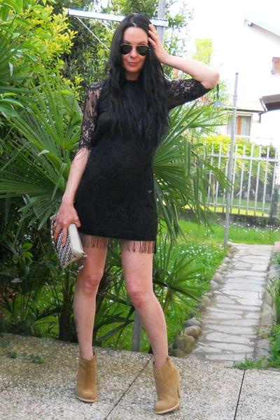 black TFNC dress - tan asos boots - off white asos bag