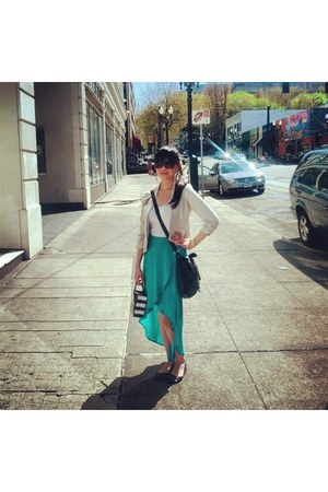 Forever 21 skirt - H&M bag - Forever 21 cardigan