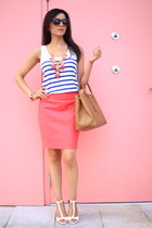 coral Jcrew skirt - navy striped tank Zara shirt