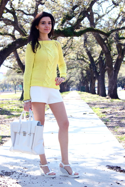 white pashli satchel 31 Phillip Lim bag - yellow neon knit Zara sweater