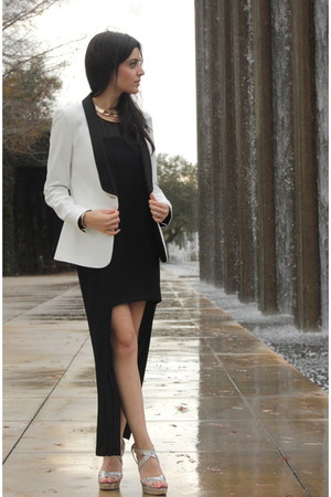 white Zaraara blazer - black Zara dress - silver sparkle heels Jimmy Choo heels