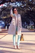 eggshell trenchcoat Zara coat - aquamarine Topshop jeans
