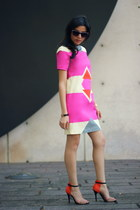 carrot orange Zara sandals - hot pink Derek Lam dress