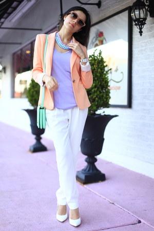 peach peach blazer Zara blazer - periwinkle lavender shirt Zara shirt