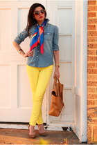 yellow J Crew jeans - sky blue chambray shirt JCrew shirt