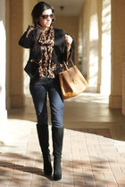 black Michael Kors boots - black zippered blazer Zara blazer