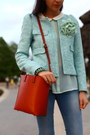 Burnt-orange-satchel-zara-bag-light-blue-mint-blazer-zara-blazer
