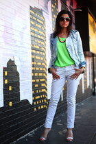 chartreuse neon top Zara shirt - white joes jeans - light blue Zara jacket