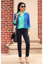 blue blazer Zara blazer - navy JCrew jeans - aquamarine shirt Forever 21 shirt