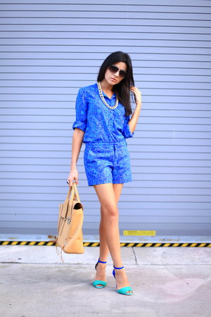 aquamarine Zara sandals - blue paisley shorts Gap shorts