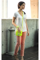 salmon jeans - lime green neon green bag asos bag