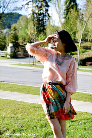 Shop Chic Escape blouse - Forever 21 skirt - Forever 21 necklace