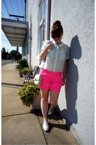 hot pink shorts - silver shoes - light blue shirt
