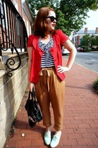 Pour La Victoire shoes - Anthropologie jacket - balenciaga bag - Forever 21 top