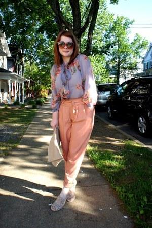American Apparel bag - Pour La Victoire heels - asos pants - Topshop blouse