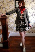 vintage blazer - Forever 21 skirt - Ann Taylor Loft top - Steve Madden shoes