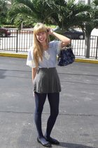 black Cache shoes - blue Aldo tights - gray Old Navy skirt - blue vintage blouse