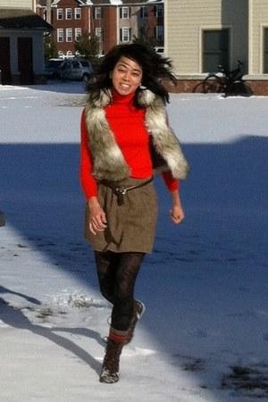 seychelles boots - JCrew sweater - banana republic tights - JCrew skirt - faux f