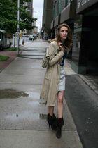 gray Club Monaco skirt - brown Steve Madden shoes - blue Baia Blue Label shirt