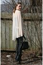 Black-bcbg-pants-black-aldo-shoes-beige-vintage-shirt-blue-guess-jacket