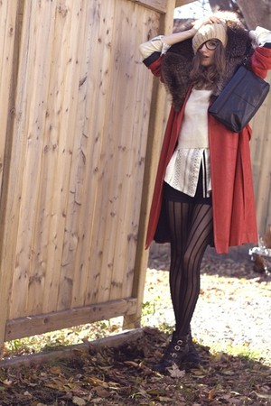 red vintage coat - black Nine West shoes - black wilfred shorts - white Ralph La
