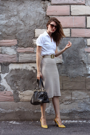 nude vintage skirt - yellow Nine West shoes