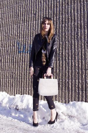black Sandra Angelozzi jacket - black vintage pants - bronze Pica necklace