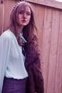 Charcoal-gray-bedo-pants-aquamarine-vintage-blouse-brown-vintage-coat