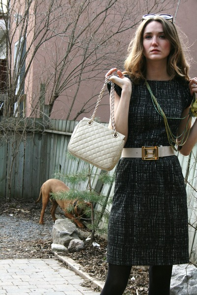 black calvin klein dress - beige Halston belt - green DIY necklace