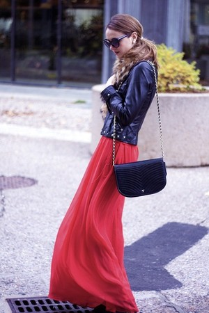 black Sandra Angelozzi jacket - red Mango coat - black Valentino purse