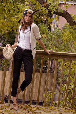 beige Aldo shoes - white pink tartan cardigan - white Club Monaco shirt - black