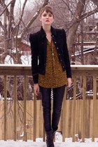 black pink tartan blazer - black Zara pants - orange Zara blouse - black Aldo bo