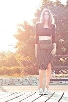 black asos top - silver Alexander Wang shoes - black vintage skirt