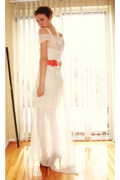 beige Aldo shoes - pink vintage belt - white DIY dress