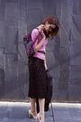 Beige-bcbg-shoes-black-vintage-skirt-pink-pink-tartan-sweater
