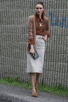 beige Michael Kors shoes - beige vintage skirt - brown vintage shirt - brown Bai