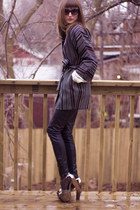 silver Jessica Simpson shoes - black Zara pants - brown Anne Klein coat