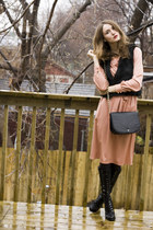 black Smart Set vest - black Aldo shoes - salmon vintage dress