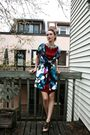 Blue-baia-black-label-coat-red-holt-renfrew-dress-black-urban-behaviour-shoe