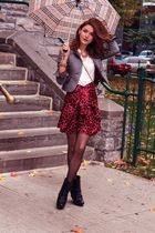 gray Express blazer - black Aldo boots - white H&M shirt - red vintage skirt