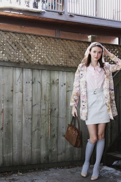beige BCBG shoes - gray Club Monaco skirt - beige Rodarte for Target coat - pink